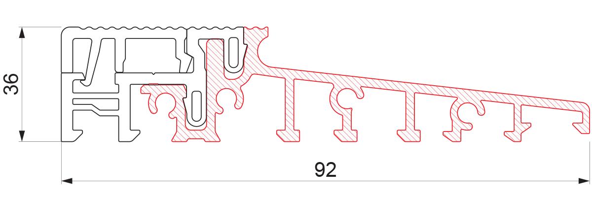 Aluminijumski prag sa termo prekidom 92x36 - 6m
