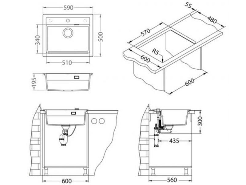 Kuhinjska sudopera Alveus Atrox 30 - Tehnički crteži