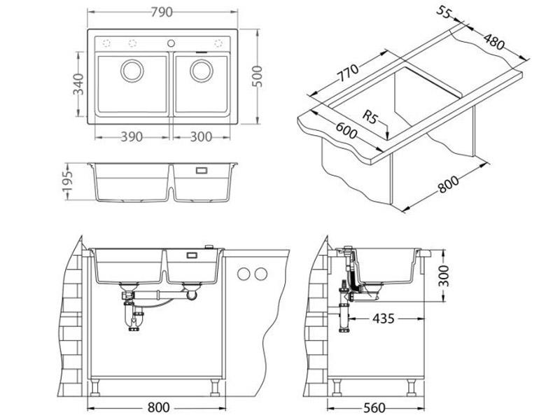 Kuhinjska sudopera Alveus Atrox 50 - Tehnički crteži