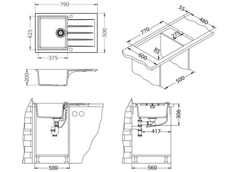 Kuhinjska sudopera Alveus Cadit 20 - Tehnički crteži