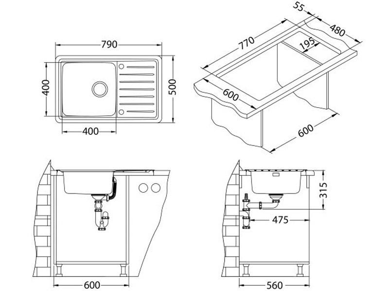 Kuhinjska sudopera Alveus Galeo 20 - Tehnički crteži