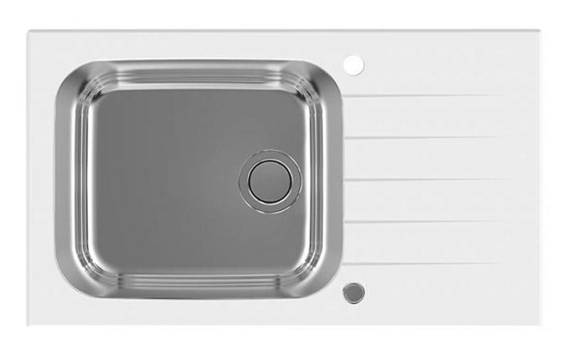 Kuhinjska sudopera Alveus Glassix Up 40 - Inox / Kaljeno staklo / Bela