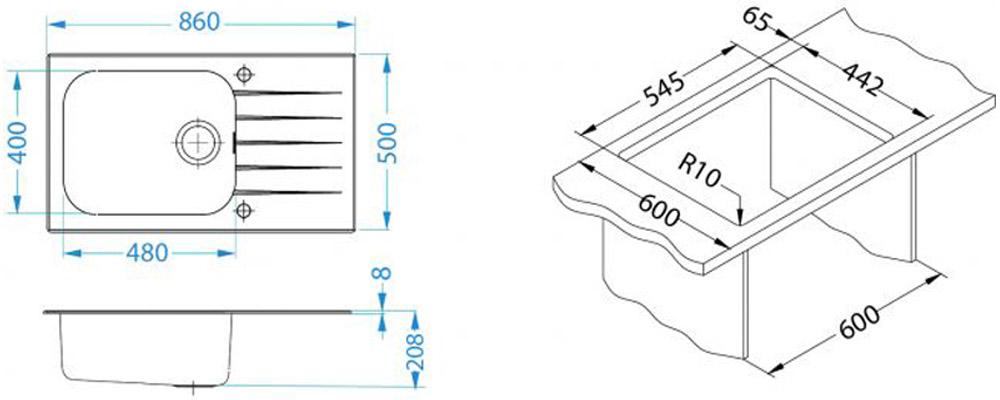 Kuhinjska sudopera Alveus Glassix Up 40 - Tehnički crteži