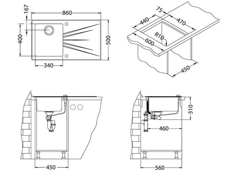 Kuhinjska sudopera Alveus Karat 10 - Tehnički crteži