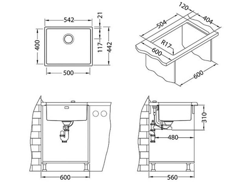 Kuhinjska sudopera Alveus Kombino 50 - Tehnički crteži