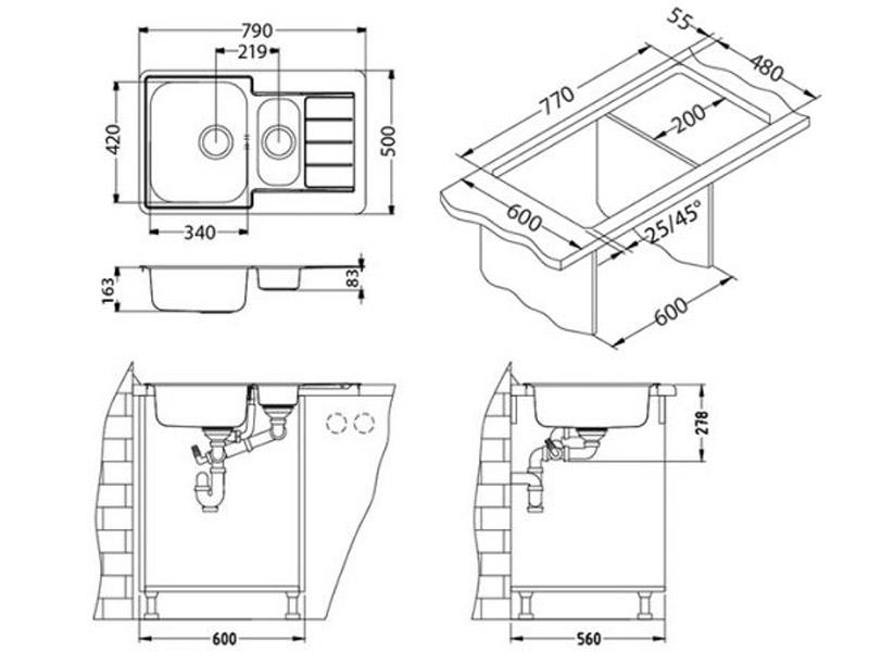 Kuhinjska sudopera Alveus Line 70 - Tehnički crteži
