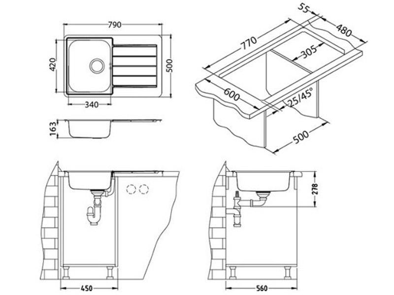 Kuhinjska sudopera Alveus Line 80 - Tehnički crteži