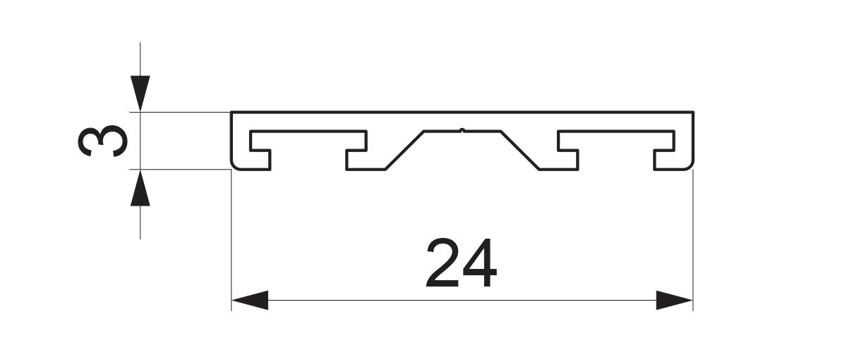 17949 - Dvokanalni aluminijumski profil za četkicu - 6 m