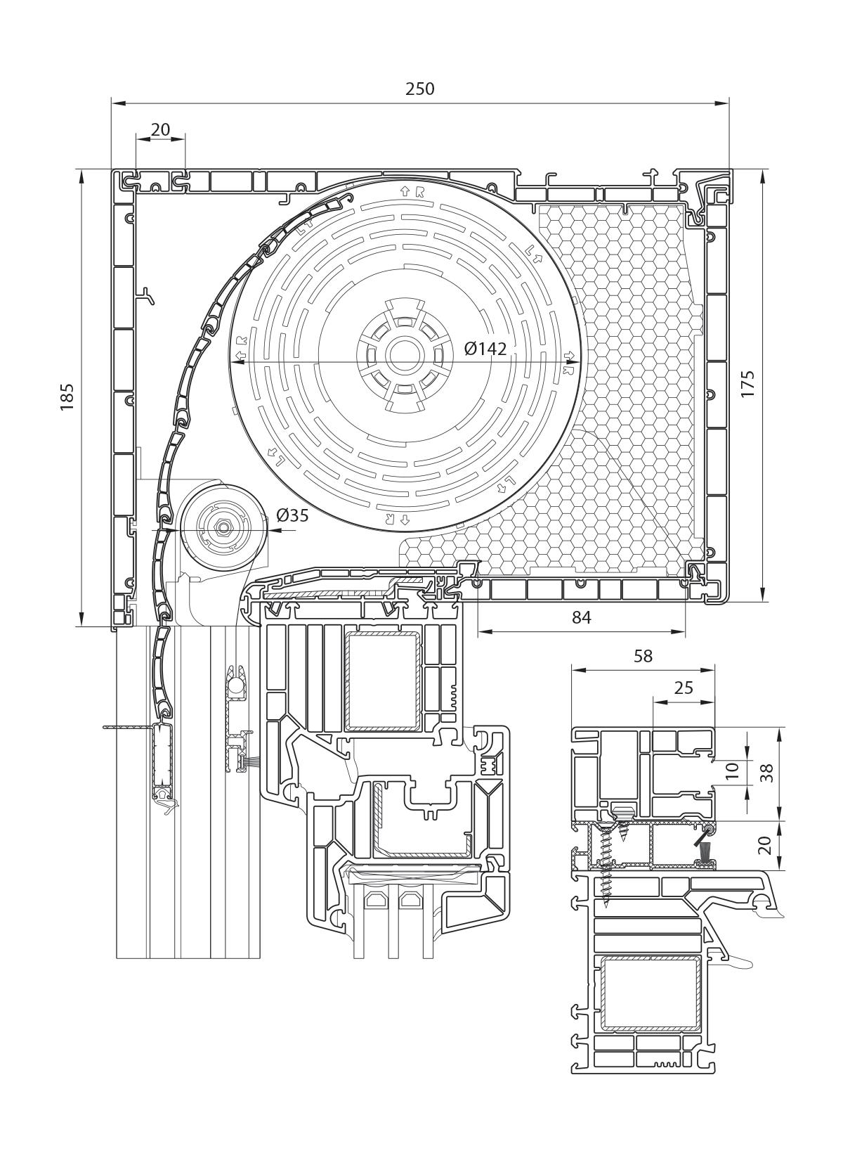 Veka PVC roletna 175 mm sa integrisanim komarnikom