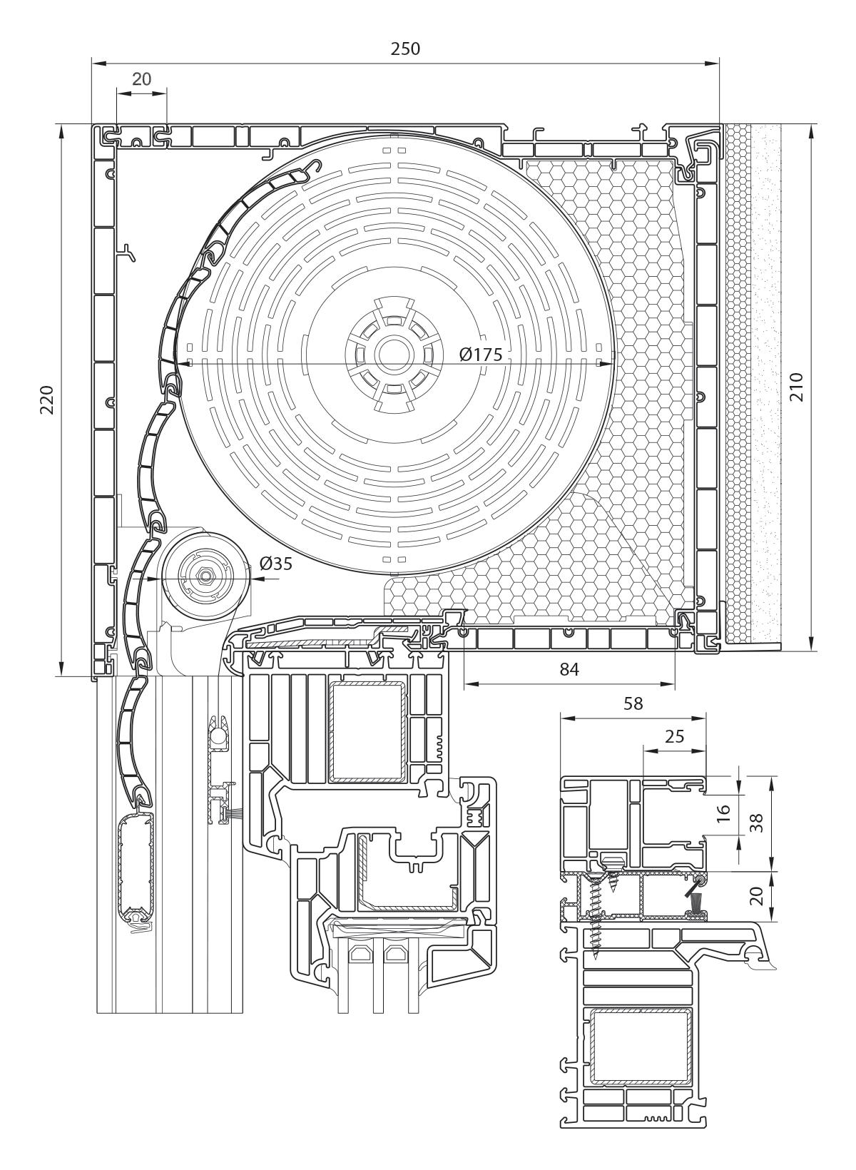 Veka PVC roletna 210 mm sa integrisanim komarnikom