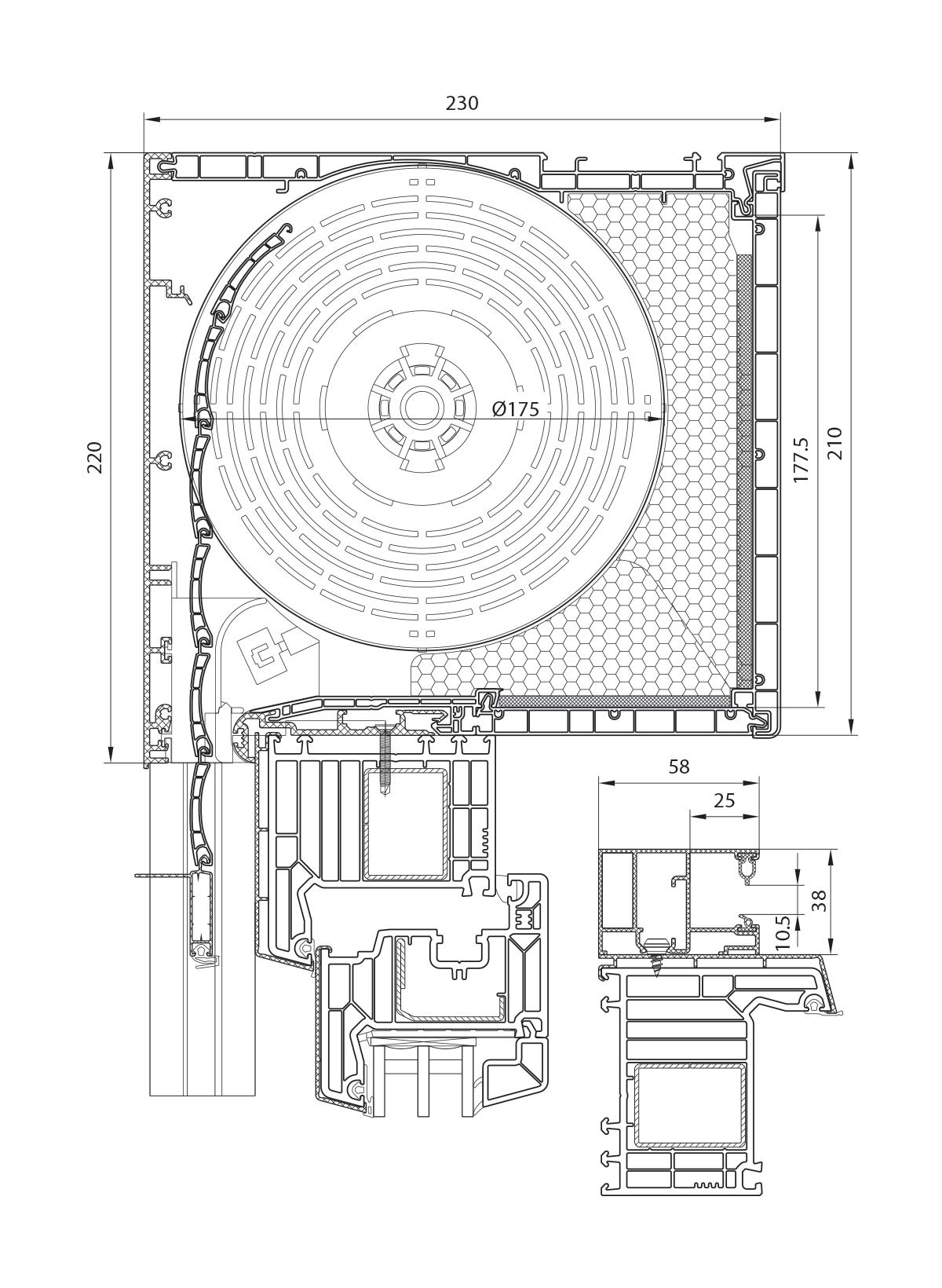 Veka PVC roletna 210 mm