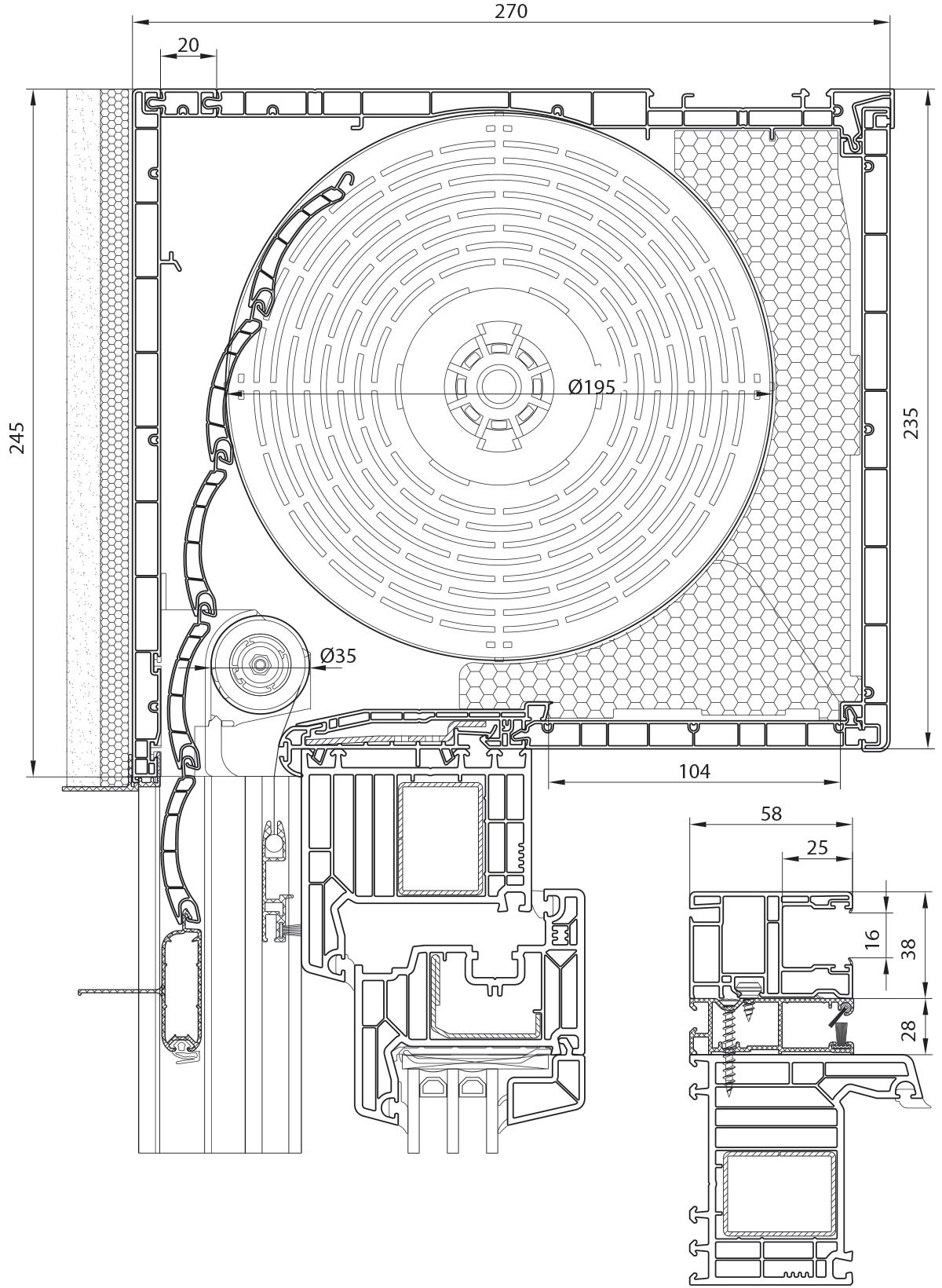 Veka PVC roletna 235 mm sa integrisanim komarnikom