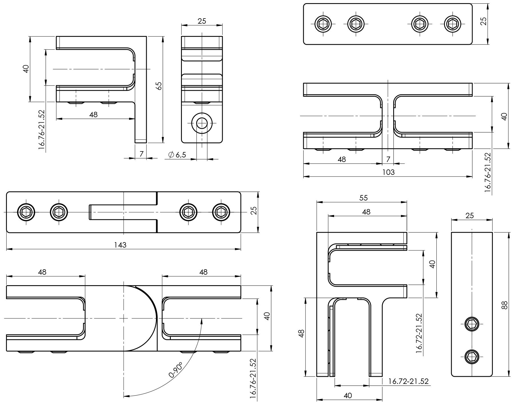 Tehnički crteži Inox učvršćivača staklene ograde