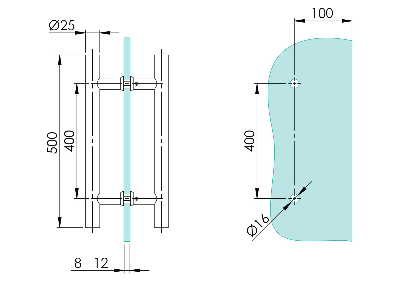GS-304/M1-25-500 - Crtež za rukohvat Ø25