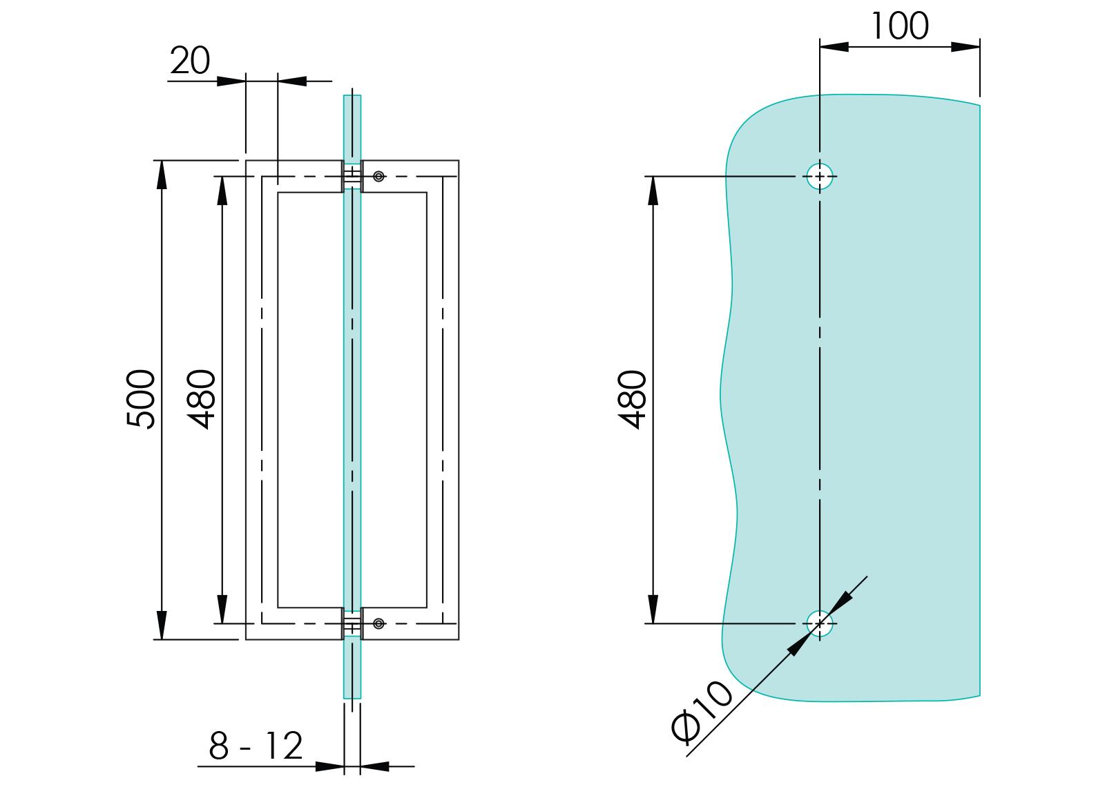 GS-304/M3-20-500 - Crtež za rukohvat 20×20