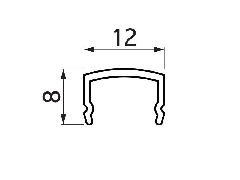 PR-2647 - F40 Classic pokrivni profil 12x8 mm za vertikalni profil - 6 m