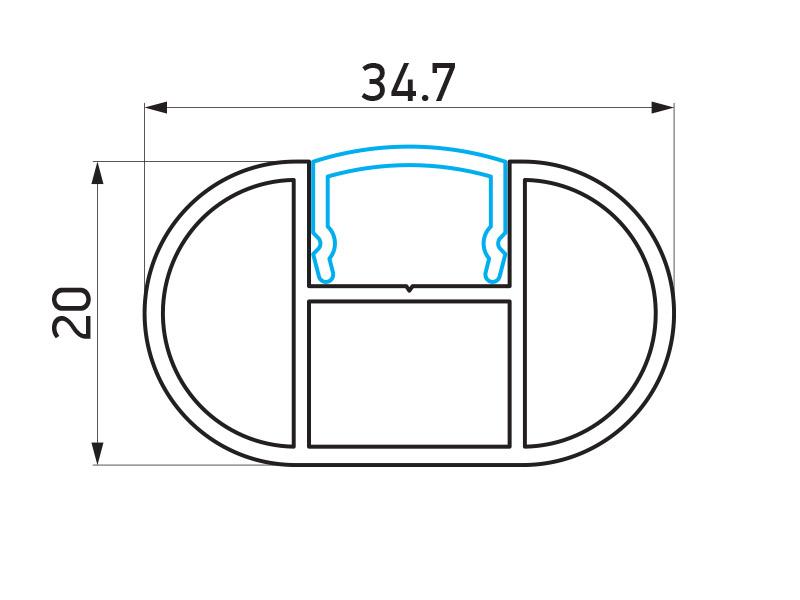 PR-4529 - F40 Classic vertikalni profil 20x34.7 mm - 6 m