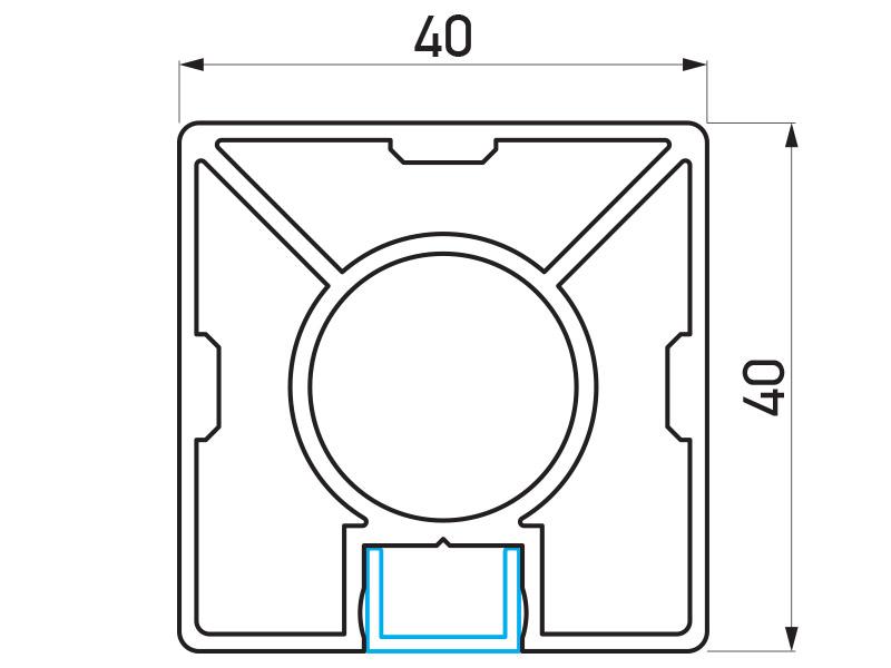 PR-8337 - F40 Classic stub 40x40 mm - 6 m