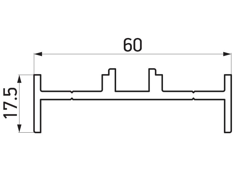 PR-9452 - F60 Louver adapter 60x17.5 mm - 6 m