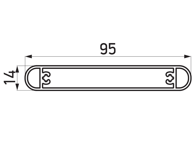 PR-9453 - F60 Louver lamela 95x14 mm - 6 m