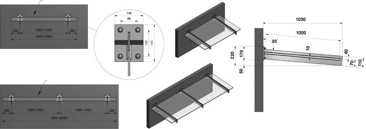 Inox nadstrešnica model 106 - crtež