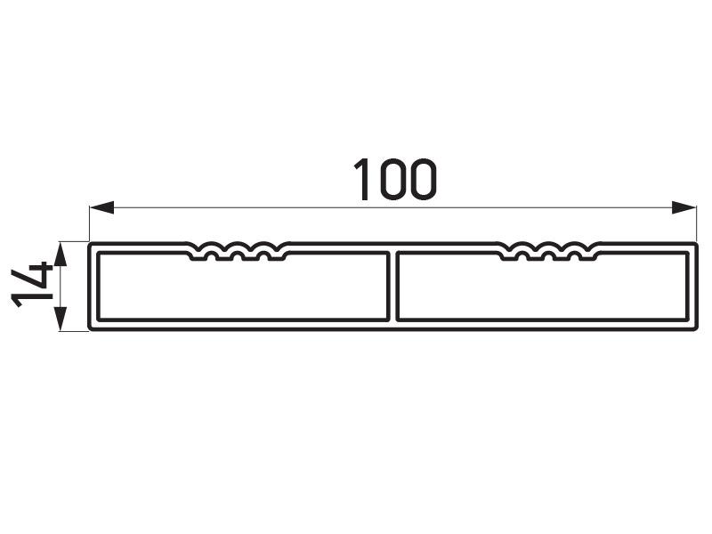 PR-9477 - F60 lamela 100×14 mm - 6 m