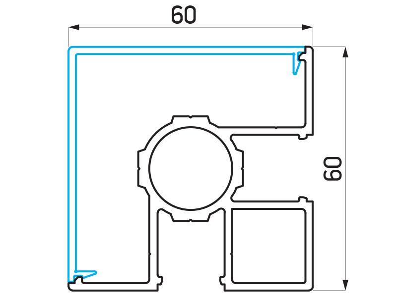 PR-9480 - F60/F60 Louver stub skretnica 90° 60×60 mm - 6 m