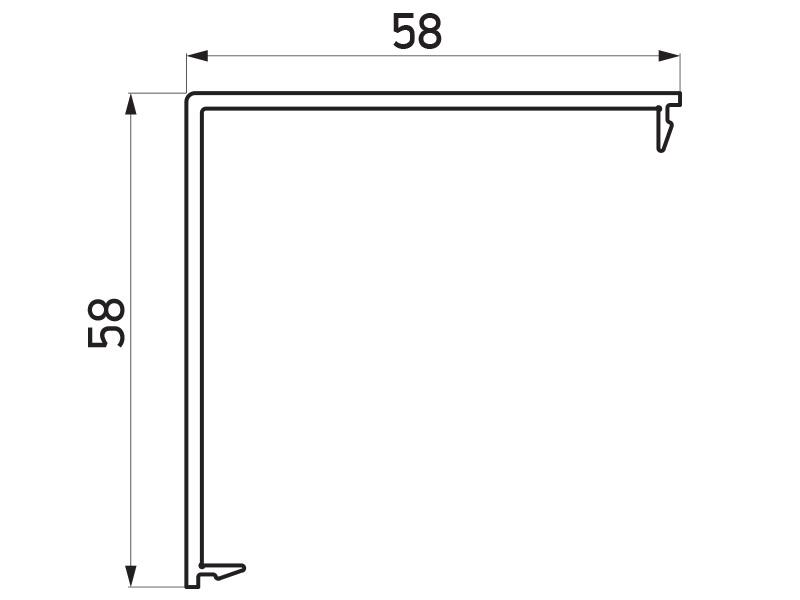 PR-9481 - F60/F60 Louver pokrivni profil za stub skretnicu 90° - 6 m